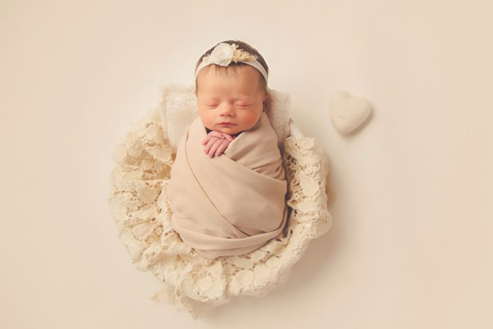 Newborn Photo Shoot Glasgow - baby wrapped in lace