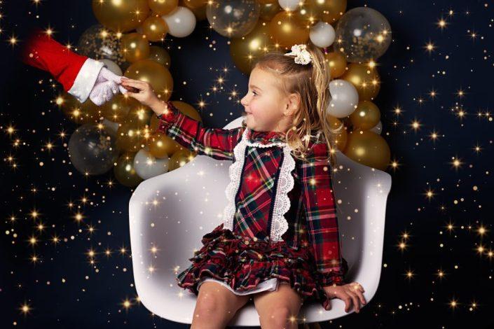 Family Photographer Renfrewshire - girl on white seat