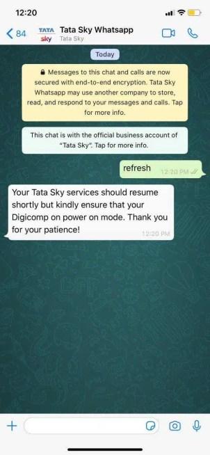 tata sky refresh whatsapp number