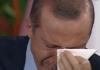 Der türkische Premier Erdogan hat in einer Fernsehsendung seine Tränen nicht zurückhalten können.