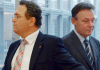 Der Geschäftsführer der SPD-Bundestagsfraktion, Thomas Oppermann (r) und der amtierende Bundesinnenminister Hans-Peter Friedrich (CSU) nehmen am 07.11.2013 im Paul-Löbe-Haus in Berlin an den Koalitionsverhandlungen zum Thema Inneres und Justiz teil.