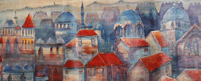 """In der Ausstellung """"Die Farben Istanbuls"""" bleibt der Künstler seinem Ruf als Beobachter der eigenen Stadt fort. Cemal Toy repräsentiert eine neue Auslegung der modernen türkischen Malerei, in der sich klassische türkische Miniaturen und Teppichmotive mit den neuen Farben der modernen Großstadt mischen."""