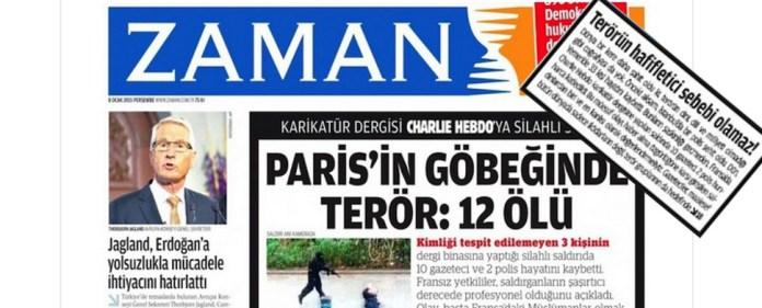Die heutige Titelseite der türkischen Tageszeitung Zaman.