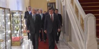 Ahmet Davutoğlu, Kemal Kılıçdaroğlu, Ömer Çelik und Haluk Koç nach den gescheiterten Koalitionsverhandlungen