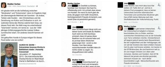 Screenshot der Facebookposts von Madlen Vartian