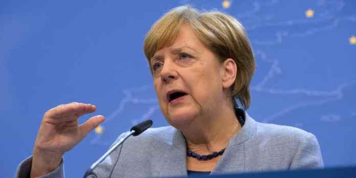 Bundeskanzlerin Angela Merkel (CDU) spricht am 20.10.2017 in Brüssel, Belgien, im Rahmen des EU-Gipfels währe