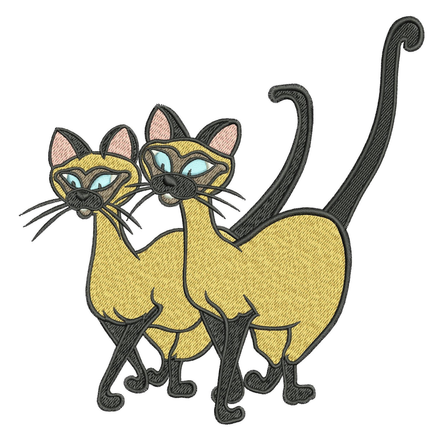 Machine Embroidery Designs Siamese Cats By Onestitch4you