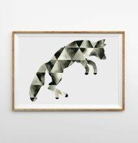 Geometric Fox Watercolor Art, Triangle Fox by geometricink ...