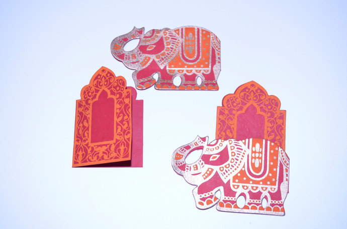 2 Elephant Throne Mini Cards Place card set by PenandFavor on Zibbet