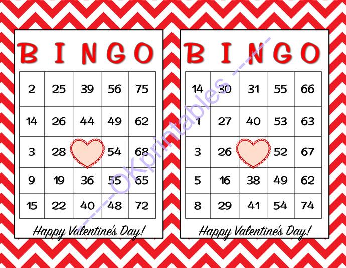 60 Happy Valentines Day Bingo Cards By Okprintables On