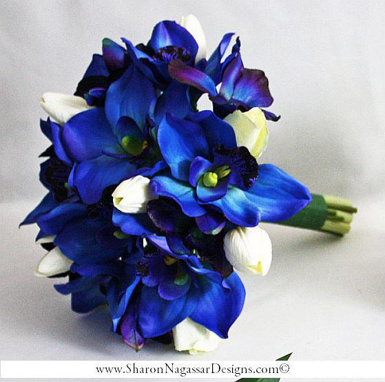 Deep Bluepurple Orchids Cobalt By Sharon Nagassar