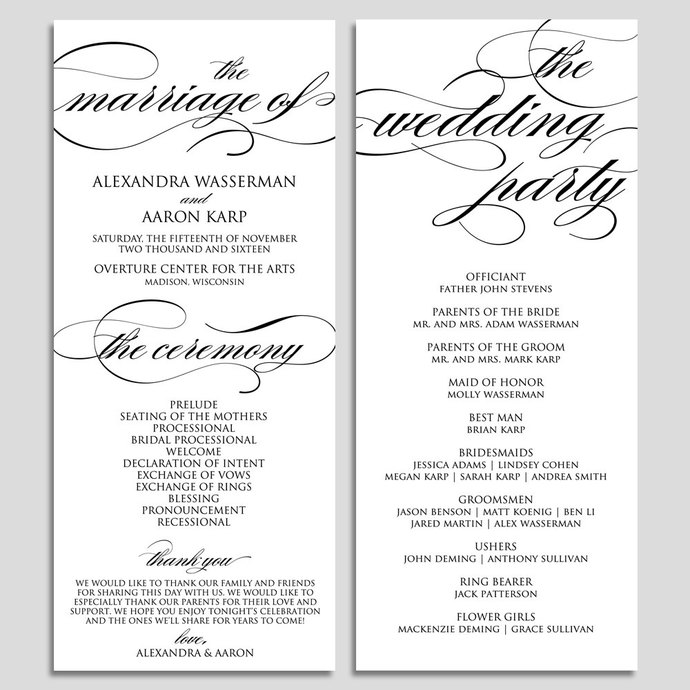 Wedding Program Template Wedding Program by ModernSoiree on Zibbet