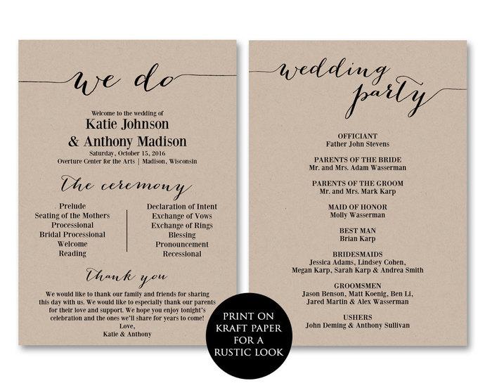 ceremony programs wedding programs