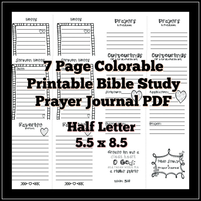Half Letter 5.5x8.5 Bible Study Prayer by ADesignbyAngie