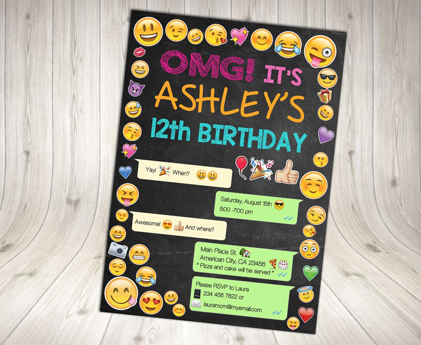 emoji invitation emoji birthday invitation emoji party printables cell phone invitation emoji chalkboard teen party teen invitation