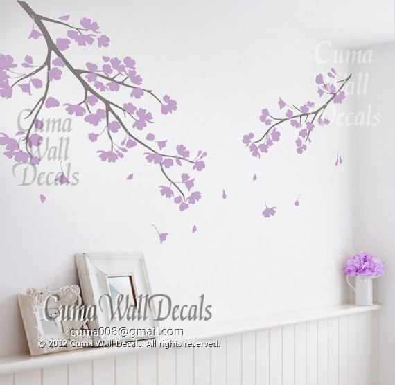 Baby Girl Nursery Flower Wallpaper Lilac Cherry Blossom Wall Decals Vinyl By Cuma Wall Decals