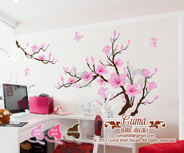 pink flower wall decals cherry blossom by Cuma wall decals