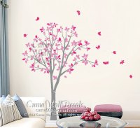 Vinyl wall decals pink tree owl and by Cuma wall decals on ...