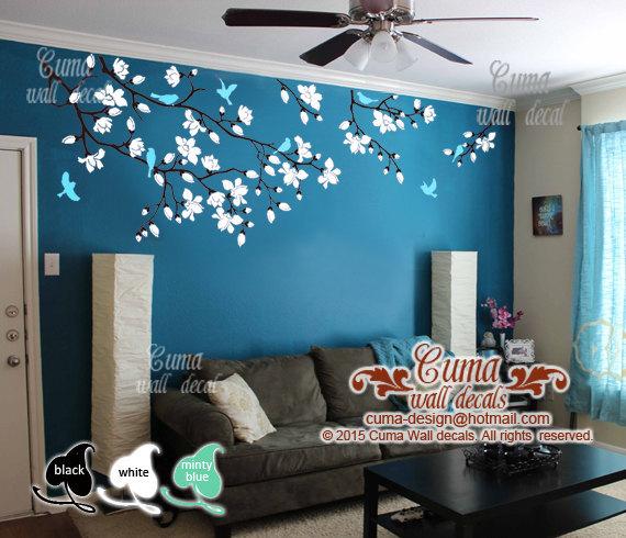 Girl Nursery With Wallpaper Cherry Blossom Wall Decals Nursery White By Cuma Wall