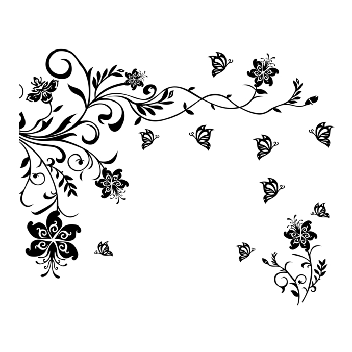 2 part flower butterfly tendril design SVG, by
