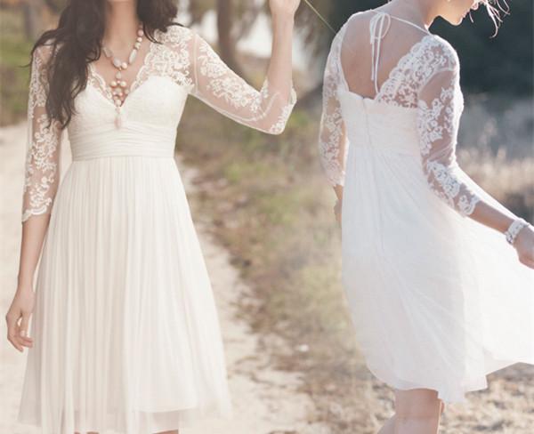 White Chiffon Prom Dress,Elegant Prom