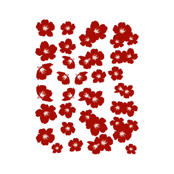 red cherry blossom decal