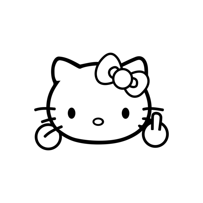 Download Hello Kitty Middle Finger Funny graphics by vectordesign ...