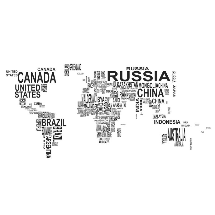 Earth Map World country names graphics design by