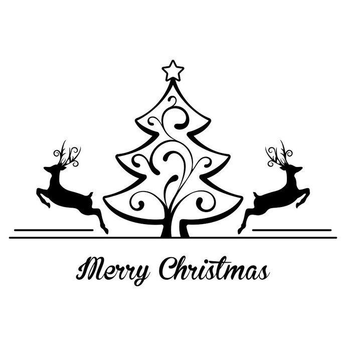 Merry Christmas Tree Deer Graphics Design SVG By