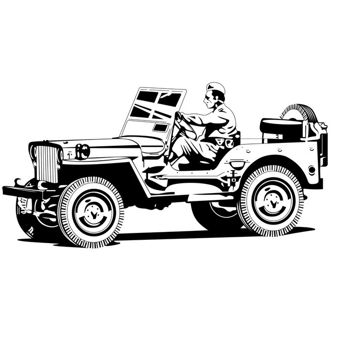 Military Jeep battle war graphics design SVG by