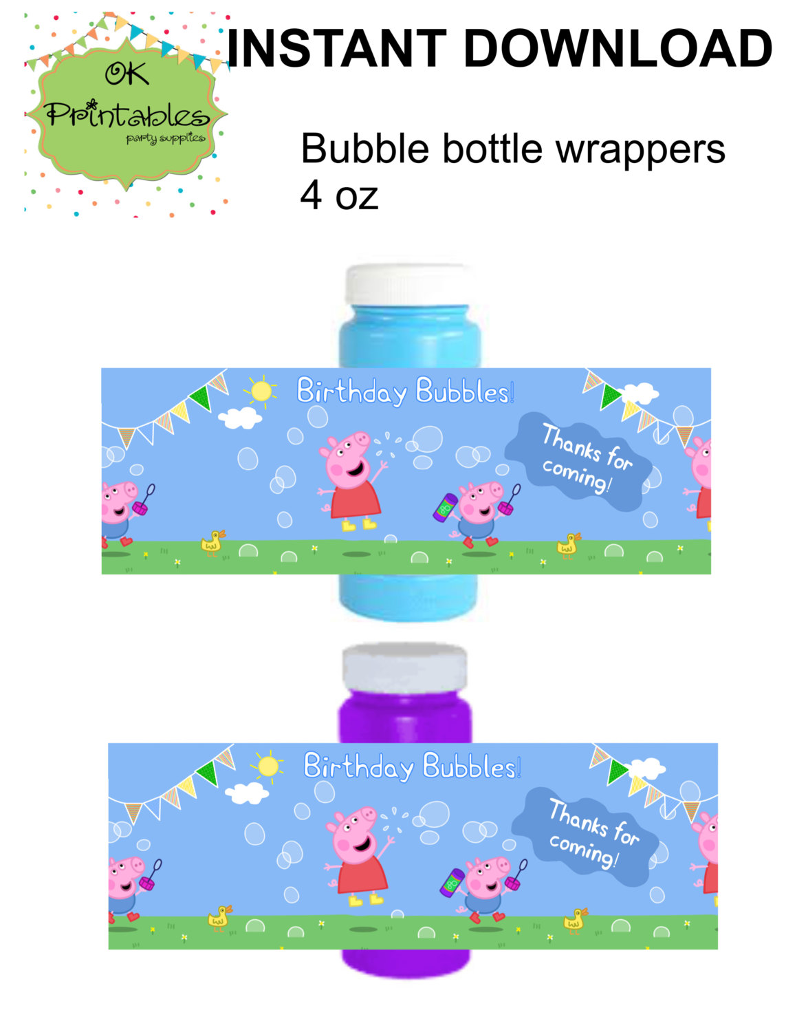 Peppa Pig And George Pig Bubble Bottle Label By