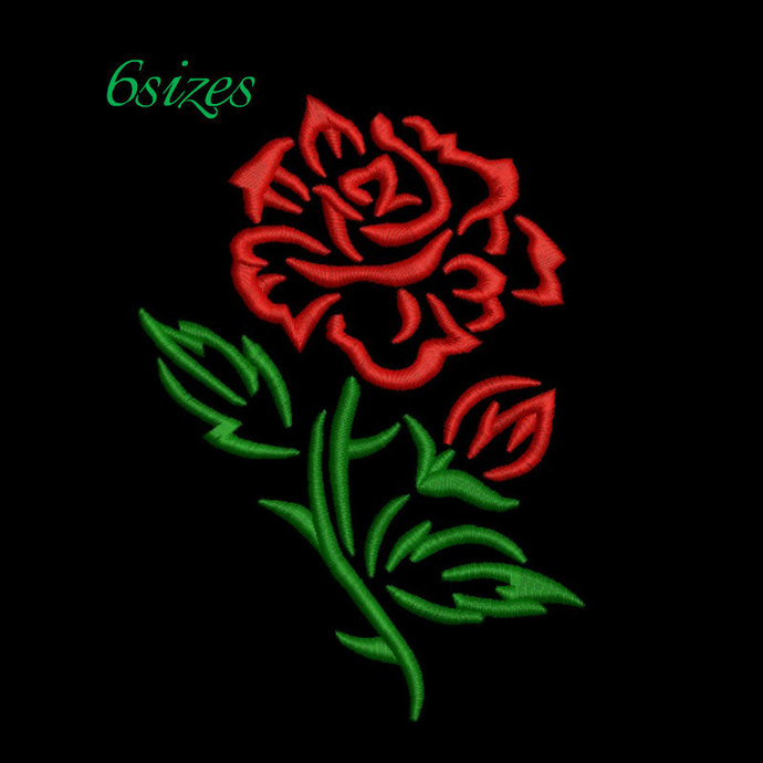 rose embroidery design outline