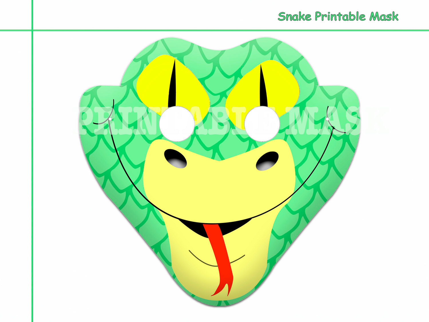 Unique Snake Printable Mask Photo Props By