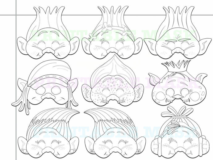Coloring Pages Troll Printable Black and by