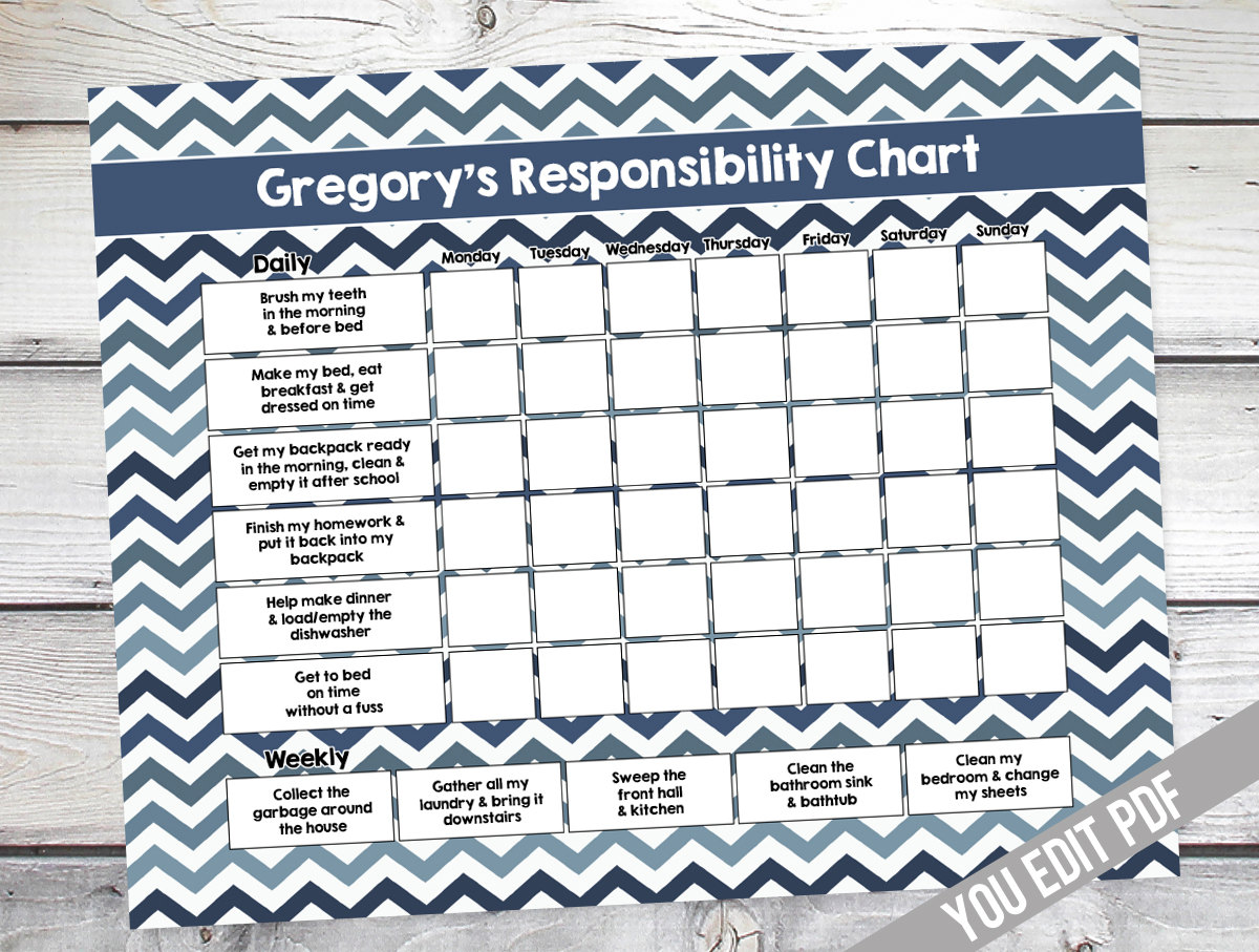 Chore Chart For Kids Teen Reward By Sugarpickle Designs