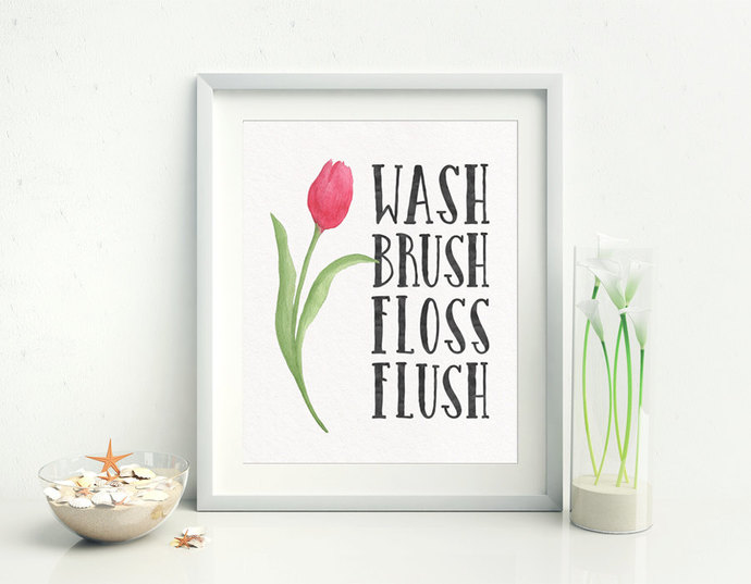 Bathroom Decor Wash Brush Floss By Sugarpickle Designs On Zibbet