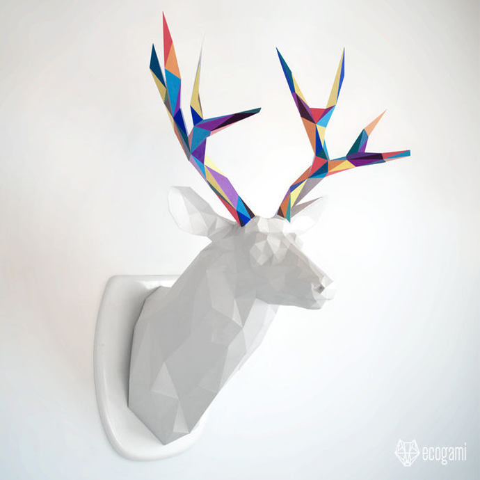 Papercraft Deer Trophy DIY Wall Mount Faux By Ecogami