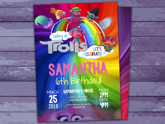 trolls party invitations instant download editable file trolls birthday trolls themed party personalize at home now with adobe reader