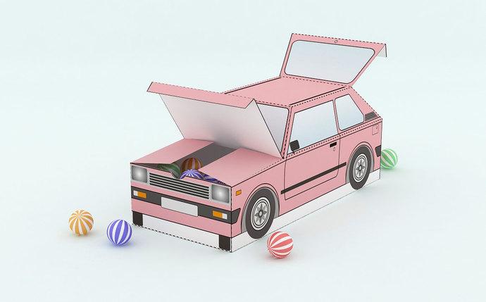 DIY Printable Car Favor Box Papercraft Instant By