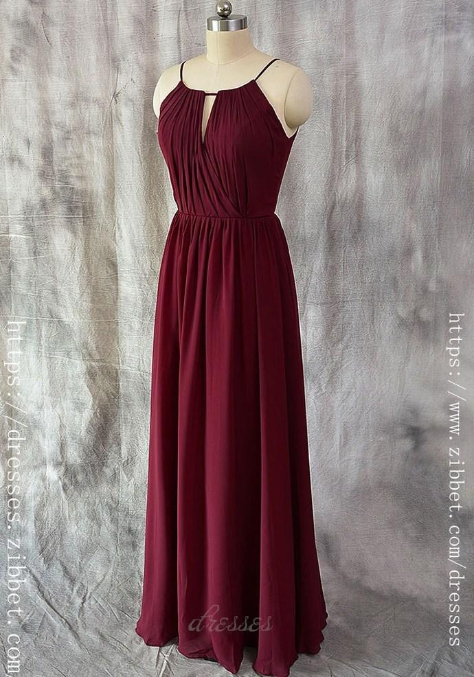 Spaghetti Straps Burgundy Bridesmaid DressA line  dresses