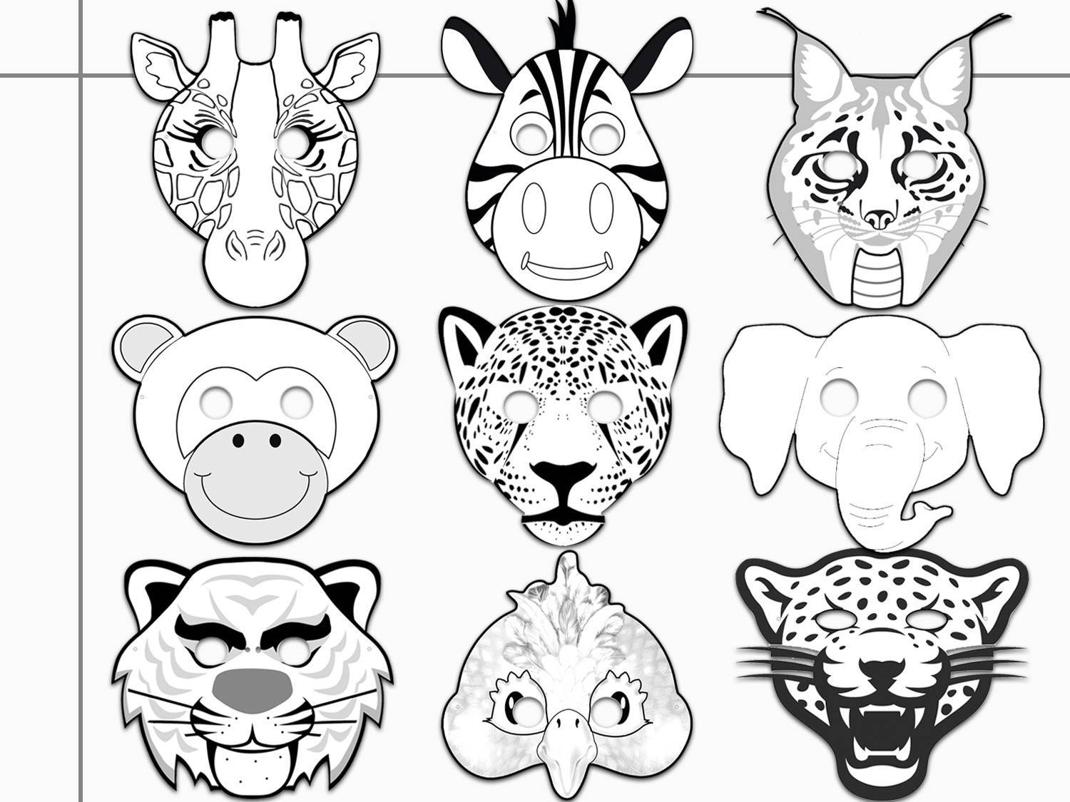 Jungle Animals Printable Coloring Masks By