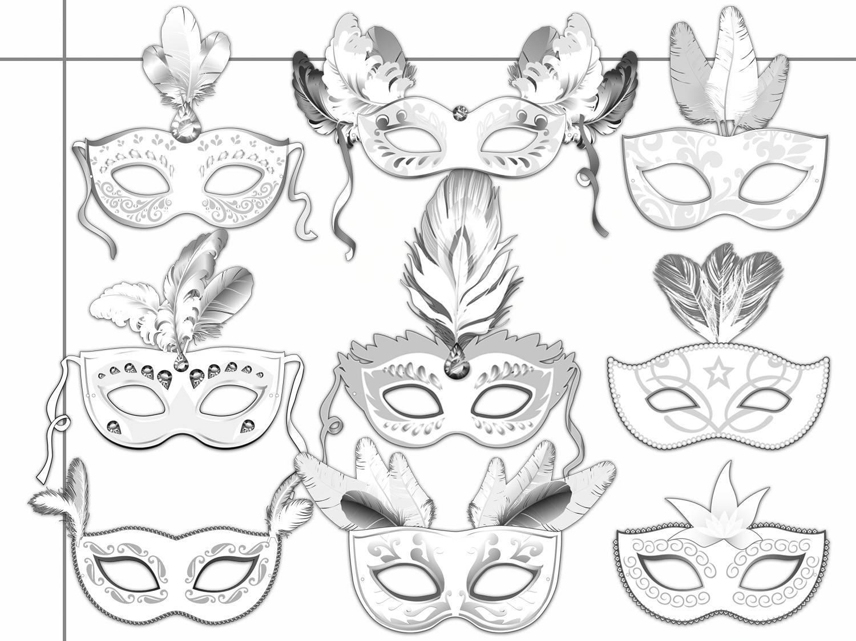 Masquerade Printable Coloring Masks, by HolidayPartyStar