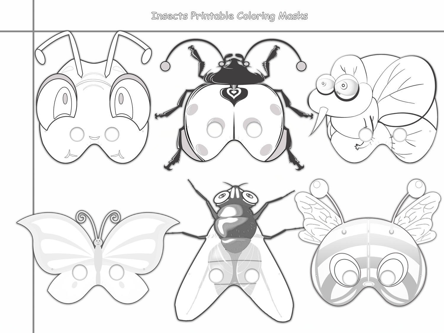 Insects Printable Coloring Masks, insect by