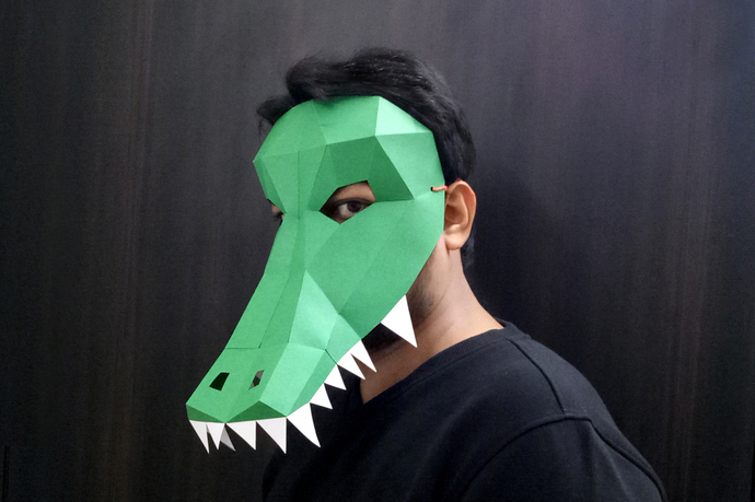 DIY Papercrafts Alligator Mask Crocodile By Paperamaze On