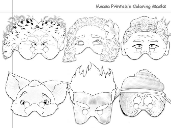 Moana Printable Coloring Masks, Moana by HolidayPartyStar