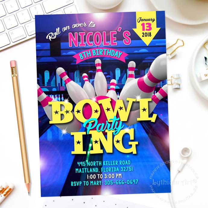 bowling invitation bowling party
