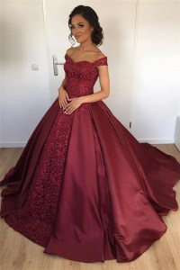 Burgundy Ball Gown Elegant 2018 Prom