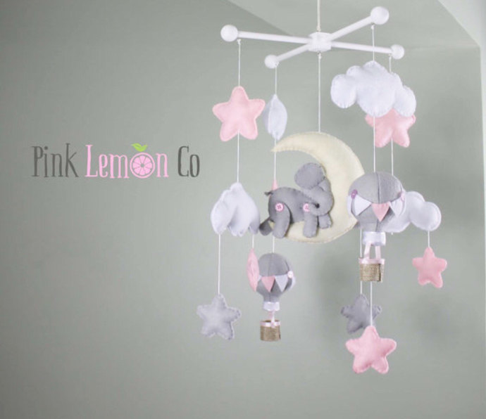 Baby mobilebaby mobile nurserybaby mobile by PinkLemonCo