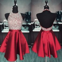 Maroon Puffy Homecoming Dresses,Backless by prom dresses ...