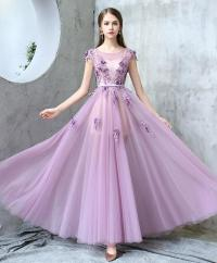 Purple round neck tulle long prom dress, by prom dresses ...